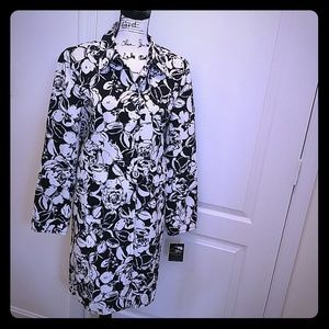 Black and White Floral Print Trench Coat